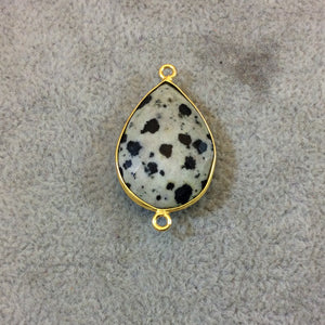 Gold Plated Natural Dalmatian Jasper Faceted Pear/Teardrop Shaped Copper Bezel Connector - Measures 18mm x 24mm - Sold Individually, Random