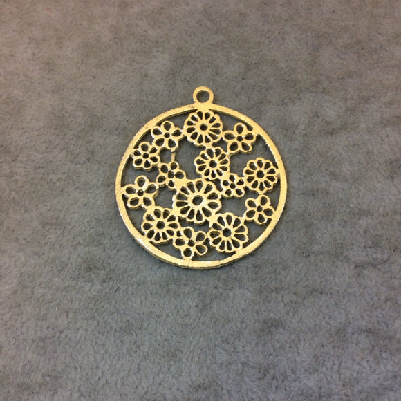 Large Gold Plated Daisy/Floral Field Cutout Circle Brushed Finish Copper Components - Measuring 39mm x 39mm - Sold in Packs of 10 (329-GD)