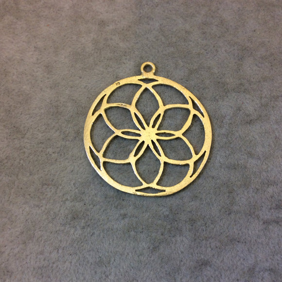 Gold Plated Floral Seed of Life Cutout Circle Shaped Brushed Finish Copper Components - Measuring 42mm x 42mm - Sold in Packs of 10