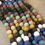 "12mm Round/Ball Shaped Natural Lava Rock Beads with 2mm Holes - 15.5"" Randomly Assorted Strand (37 Beads, Mixed Colors!) - Large Hole Beads"