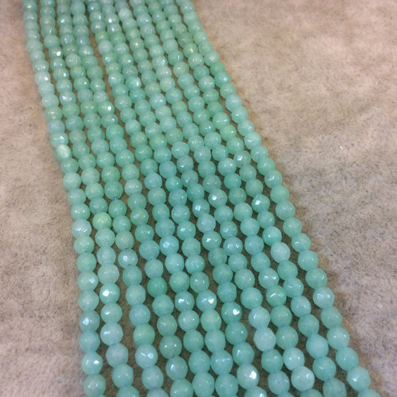 4mm Faceted Dyed Mint Green Natural Jade Round/Ball Shaped Beads - Sold by 14.5