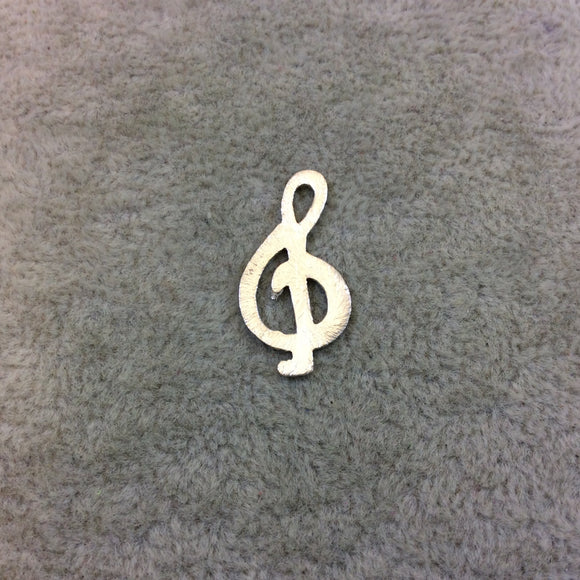 Small Silver Plated Musical Treble Clef Symbol Shaped Brushed Finish Copper Components - Measures 12mm x 23mm - Sold in Packs of 10 (293-SV)