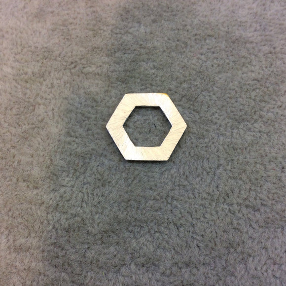 Silver Plated Copper Vertical Open Center Cutout Hexagon/Hex Shaped Components - Measuring 16mm x 19mm - Sold in Packs of 10 (181-A-SV)