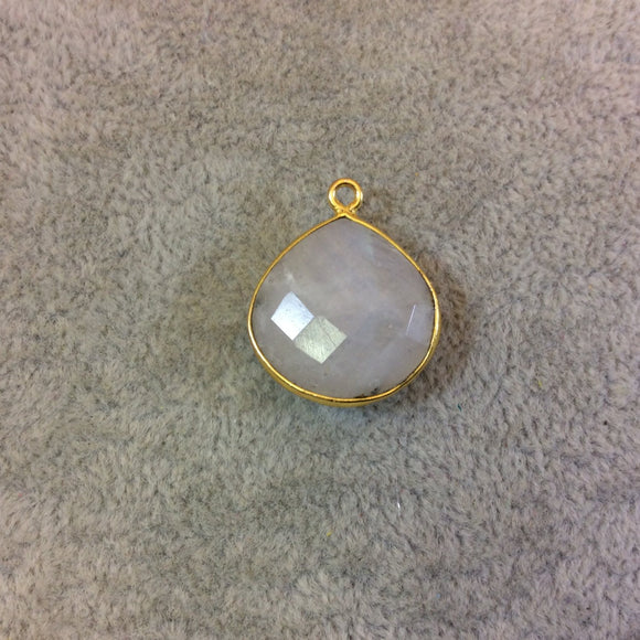 Gold Plated Natural Moonstone Faceted Heart/Teardrop Shaped Copper Bezel Pendant - Measures 18mm x 18mm - Sold Individually, Randomly Chosen
