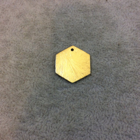 18mm x 20mm Gold Brushed Finish Blank Hexagon Shaped Plated Copper Components - Sold in Pre-Counted Bulk Packs of 10 Pieces - (189-GD)