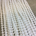 "6mm Faceted Dyed Opaque White Natural Jade Round/Ball Shaped Beads with 1mm Beading Holes - Sold by 14.5"" Strands (Approximately 60 Beads)"