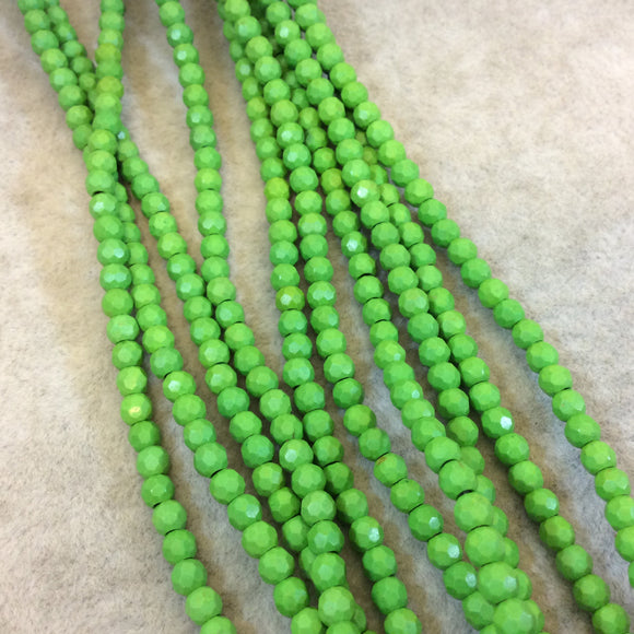 4mm Faceted Dyed Lime Green Howlite Round/Ball Shape Beads - Sold by 15.75