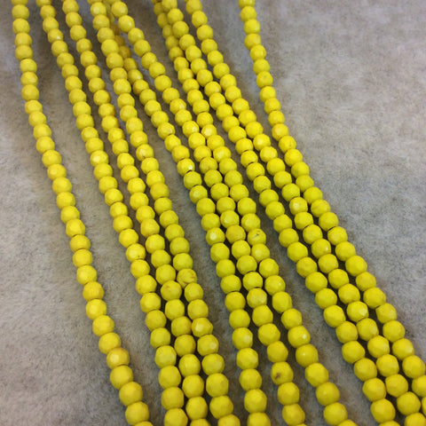 "4mm Faceted Dyed Yellow Howlite Round/Ball Shape Beads - Sold by 15.75"" Strands (Approx. 106 Beads) - Natural Semi-Precious Gemstone"