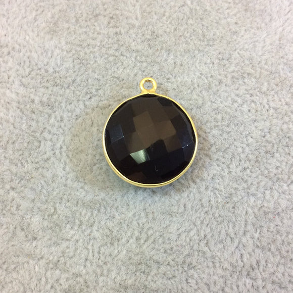 Gold Plated Faceted Hydro (Lab Created) Jet Black Onyx Round/Coin Shaped Bezel Pendant - Measuring 18mm x 18mm - Sold Individually