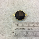 Gold Plated Faceted Hydro (Lab Created) Jet Black Onyx Round/Coin Shaped Bezel Connector - Measuring 18mm x 18mm - Sold Individually