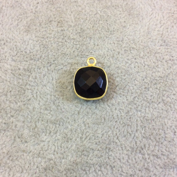 Gold Plated Faceted Hydro (Lab Created) Jet Black Onyx Square Shaped Bezel Pendant - Measuring 12mm x 12mm - Sold Individually