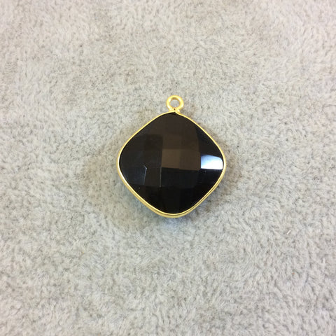 Gold Plated Faceted Hydro (Lab Created) Jet Black Onyx Diamond Shaped Bezel Pendant - Measuring 18mm x 18mm - Sold Individually