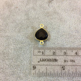 Gold Plated Faceted Hydro (Lab Created) Jet Black Onyx Heart/Teardrop Shaped Bezel Connector - Measuring 12mm x 12mm - Sold Individually