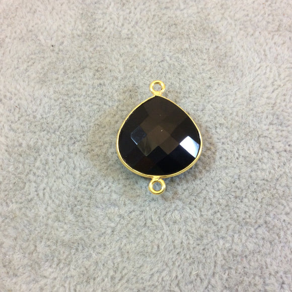 Gold Plated Faceted Hydro (Lab Created) Jet Black Onyx Heart/Teardrop Shaped Bezel Connector - Measuring 18mm x 18mm - Sold Individually