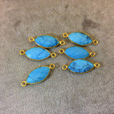 Gold Plated Faceted Stabilized Blue Howlite Marquise Shaped Bezel Connector/Link Component - Measuring 11mm x 22mm - Dyed Faux Turquoise