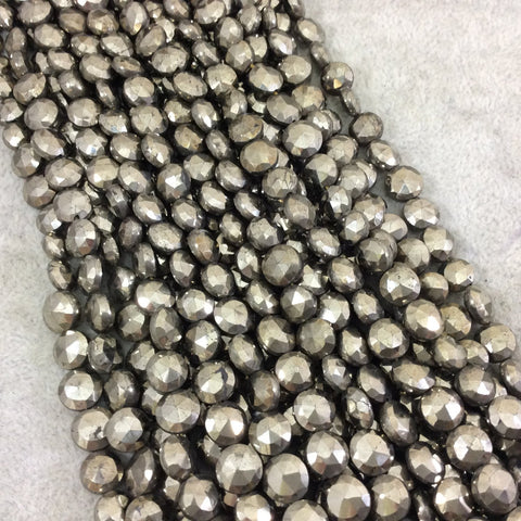 "7-8mm Faceted Coin Shaped Natural Pyrite Beads - 9.5"" Strand (Approximately 34 Beads) - High Quality Hand-Cut Indian Semi-Precious Gemstone"