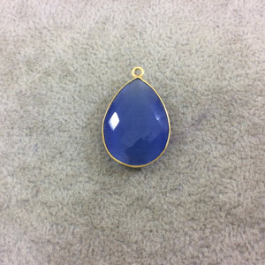 Gold Plated Faceted Synthetic Periwinkle Cat's Eye (Manmade Glass) Teardrop Shaped Bezel Pendant - Measuring 18mm x 24mm - Sold Individual