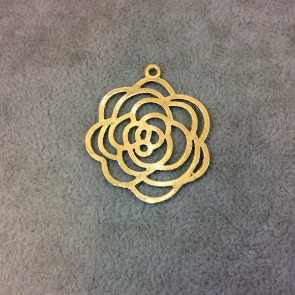 Medium Sized Gold Plated Copper Open Wavy/Fancy Rose Blossom Shaped Components - Measuring 34mm x 36mm - Sold in Packs of 10 (251-GD)