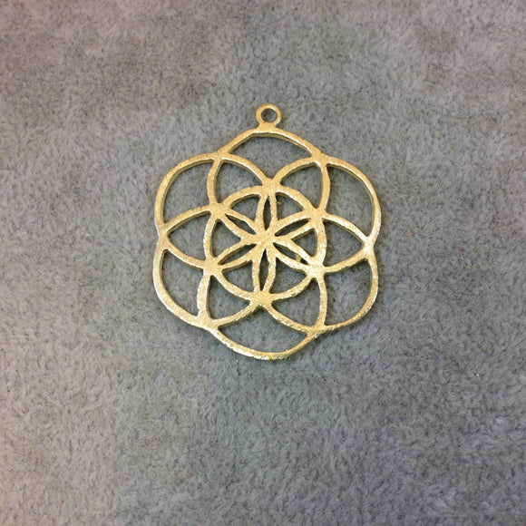 Medium Sized Gold Plated Copper Sacred Seed/Flower of Life Shaped Components - Measuring 35mm x 37mm - Sold in Packs of 4 Components