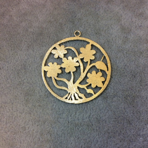 Medium Sized Gold Plated Copper Flower-Filled Circle Shaped Components - Measuring 40mm x 40mm - Sold in Packs of 4 (359-GD)