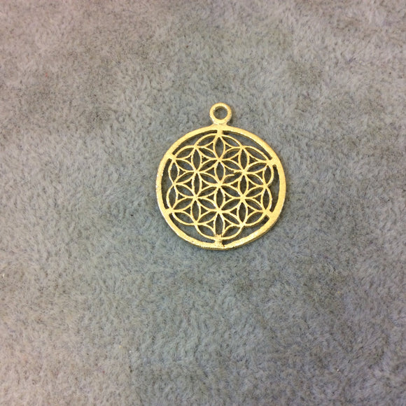 Small Sized Gold Plated Copper Sacred Seed/Flower of Life Shaped Components - Measures 24mm x 24mm - Sold in Packs of 10 Components (324-GD)