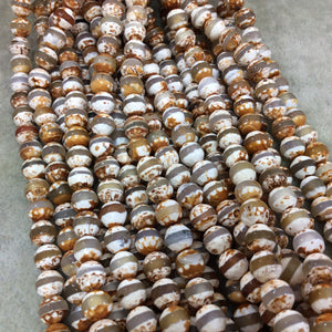 "8mm Natural Striped Brown/Orange Tibetan Agate Faceted Round Shaped Beads with 1mm Holes - 15.5"" Strand (Approx. 48 Beads) - Quality Stone"