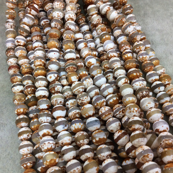 8mm Natural Striped Brown/Orange Tibetan Agate Faceted Round Shaped Beads with 1mm Holes - 15.5