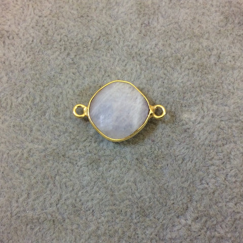 Gold Plated Natural Moonstone Faceted Diamond Shaped Copper Bezel Connector - Measures 14mm x 14mm - Sold Individually, Randomly Chosen