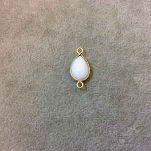Gold Plated Faceted White Hydro (Lab Created) Chalcedony Pear/Teardrop Shaped Bezel Connector - Measuring 10mm x 15mm - Sold Individually