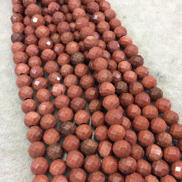 8mm Manmade Goldstone (Glass) Faceted Finish Round/Ball Shaped Beads with 2.5mm Holes - 7.75