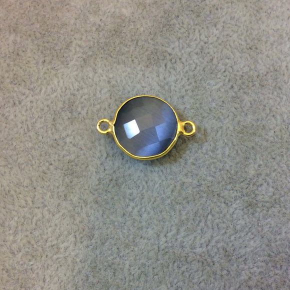 Gold Plated Faceted Synthetic Gray Cat's Eye (Manmade Glass) Round/Coin Shaped Bezel Connector - Measuring 15mm x 15mm - Sold Individually