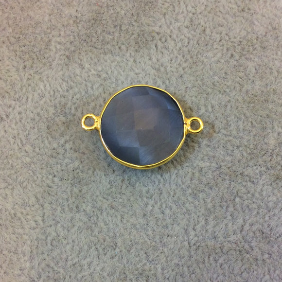 Gold Plated Faceted Synthetic Gray Cat's Eye (Manmade Glass) Round/Coin Shaped Bezel Connector - Measuring 18mm x 18mm - Sold Individually