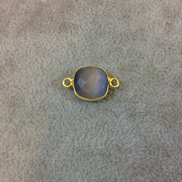 Gold Plated Faceted Synthetic Gray Cat's Eye (Manmade Glass) Square Shaped Bezel Connector - Measuring 12mm x 12mm - Sold Individually