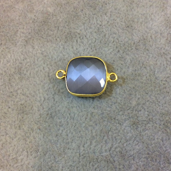 Gold Plated Faceted Synthetic Gray Cat's Eye (Manmade Glass) Square Shaped Bezel Connector - Measuring 15mm x 15mm - Sold Individually