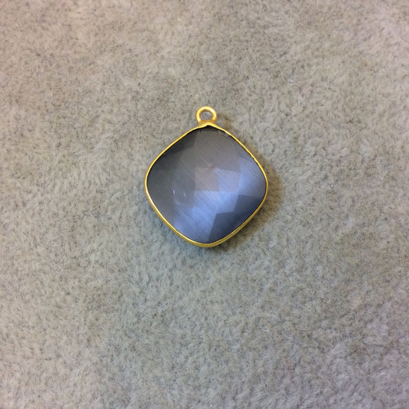 Gold Plated Faceted Synthetic Gray Cat's Eye (Manmade Glass) Diamond Shaped Bezel Pendant - Measuring 18mm x 18mm - Sold Individually