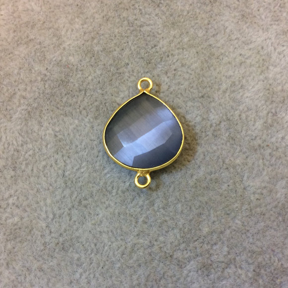 Gold Plated Faceted Synthetic Gray Cat's Eye (Manmade Glass) Heart/Teardrop Shaped Bezel Connector - Measuring 18mm x 18mm - Sold Individual