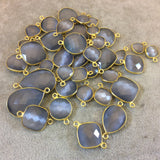 Gold Plated Faceted Synthetic Gray Cat's Eye (Manmade Glass) Round/Coin Shaped Bezel Connector - Measuring 12mm x 12mm - Sold Individually