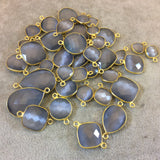 Gold Plated Faceted Synthetic Gray Cat's Eye (Manmade Glass) Round/Coin Shaped Bezel Connector - Measuring 10mm x 10mm - Sold Individually