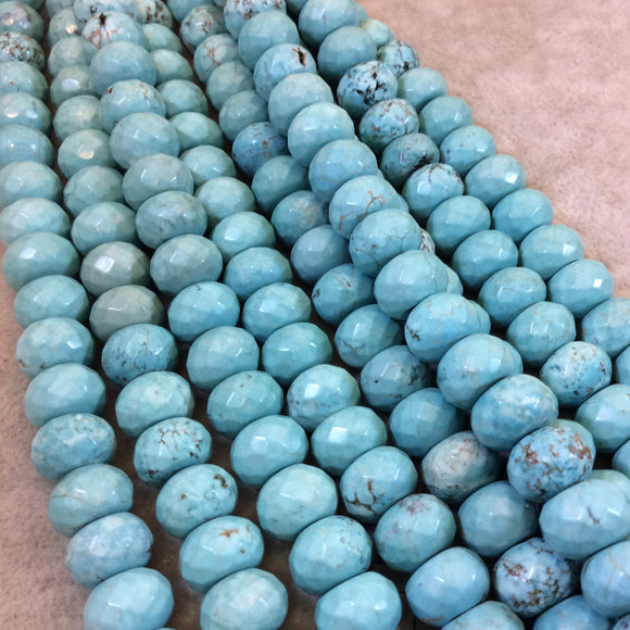 8mm x 12mm Mixed Dyed Blue Howlite Faceted Finish Rondelle Shaped Beads with 2mm Holes - 7.75