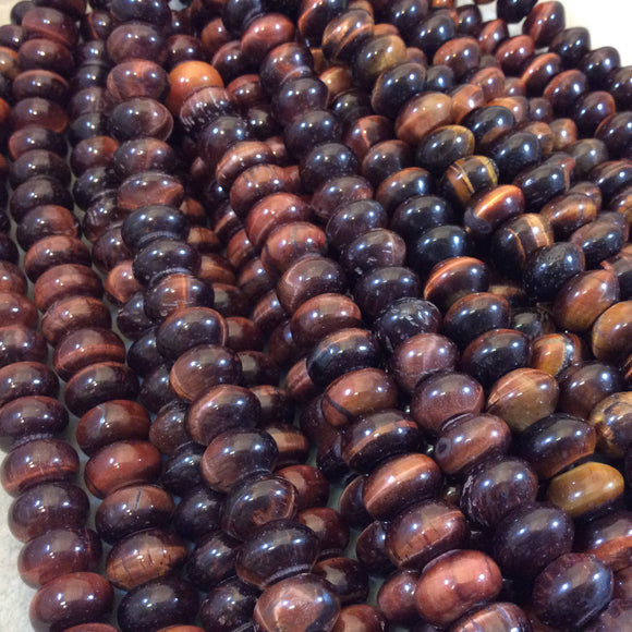 8mm x 12mm Natural Red Tiger Eye Smooth Finish Rondelle Shaped Beads with 2.5mm Holes - 7.75