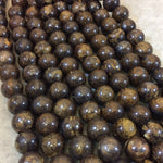 "12mm Metallic Bronzite Smooth Finish Round/Ball Shaped Beads with 2.5mm Holes - 7.75"" Strand (Approx. 18 Beads) - LARGE HOLE BEADS"