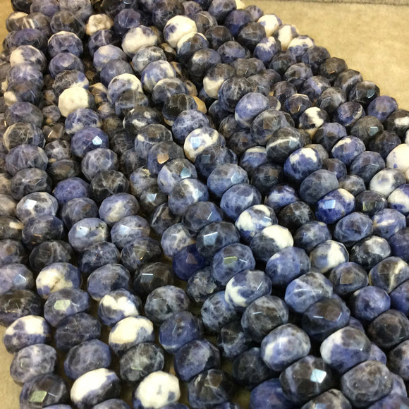 8mm x 12mm Natural Mixed Sodalite Faceted Rondelle Shaped Beads with 2.5mm Holes - 7.75
