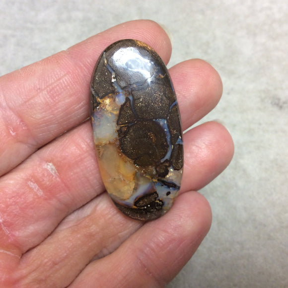 OOAK Oval Shaped Australian Boulder Opal Flat Back Cabochon - Measuring 22mm x 46mm, 6mm Dome Height - Natural High Quality Gemstone