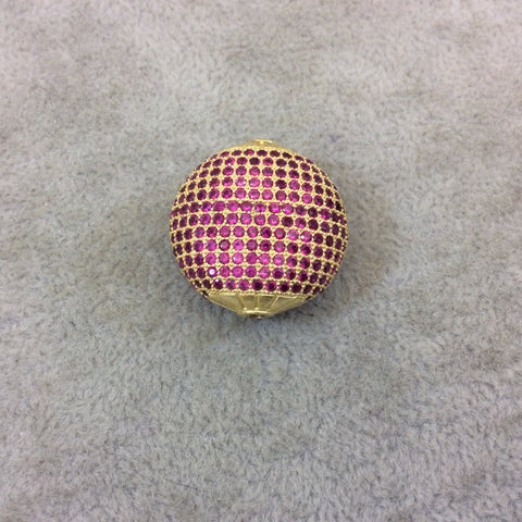 Gold Plated Fuchsia CZ Cubic Zirconia Inlaid Puffed Coin Shaped Copper Bead - Measuring 25mm x 25mm  - See Related for Other Colors!