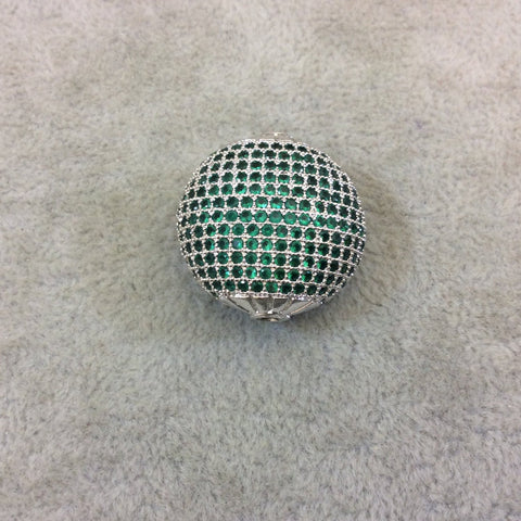 Silver Plated Green CZ Cubic Zirconia Inlaid Puffed Coin Shaped Copper Bead - Measuring 25mm x 25mm  - See Related for Other Colors!