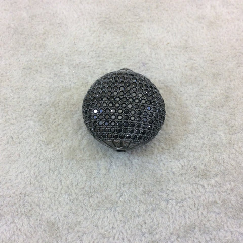 Gunmetal Plated Jet Black CZ Cubic Zirconia Inlaid Puffed Coin Shaped Copper Bead - Measuring 25mm x 25mm  - See Related for Other Colors!