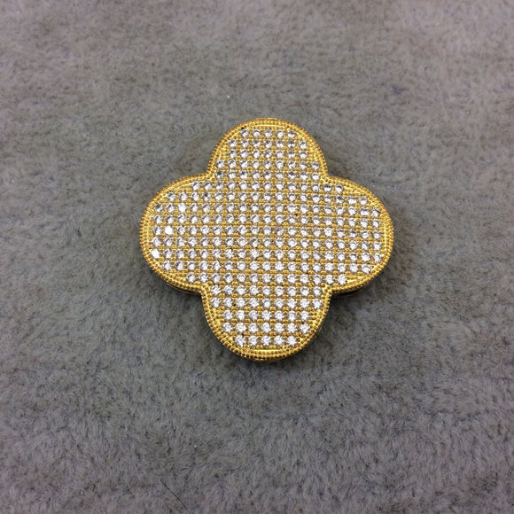 Gold Plated White CZ Cubic Zirconia Inlaid Flat Open Backed Quatrefoil/Clover Shaped Copper Slider with 2mm Hole - Measuring 32mm x 32mm