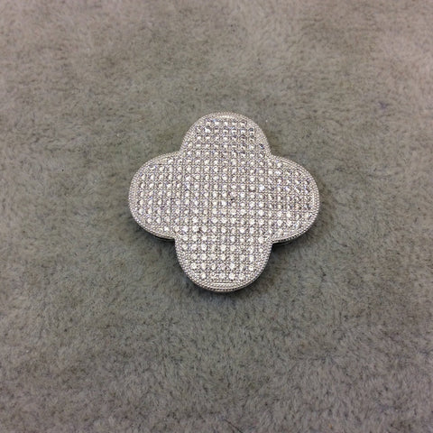 Silver Plated White CZ Cubic Zirconia Inlaid Flat Open Backed Quatrefoil/Clover Shaped Copper Slider with 2mm Hole - Measuring 32mm x 32mm