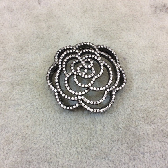 Gunmetal Plated White CZ Cubic Zirconia Inlaid Flat Open Backed Rose Blossom Shaped Copper Slider with 2mm Hole - Measuring 36mm x 36mm