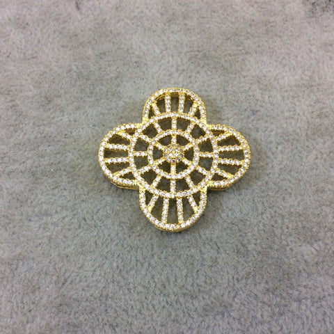Gold Plated White CZ Cubic Zirconia Inlaid Flat Ornate Open Quatrefoil/Clover Shaped Copper Slider with 2mm Hole - Measuring 35mm x 35mm